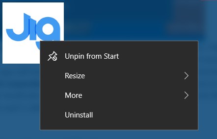 Screen capture showing the Jig.Space web app installed in the Windows Start Menu. A context menu is open, with options to Pin/Unpin, Resize, Uninstall, and more.