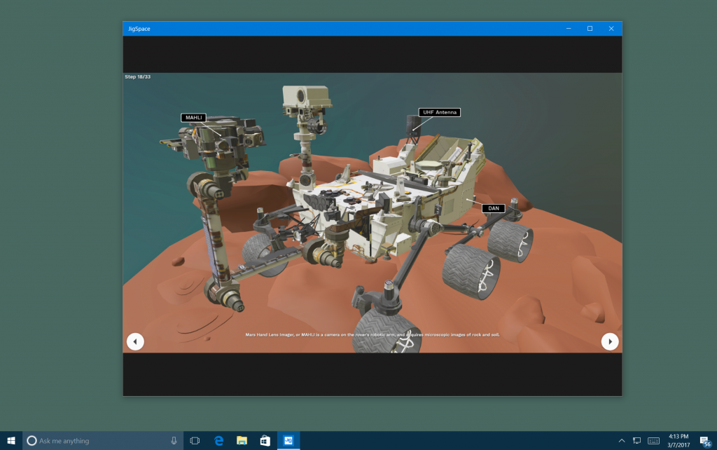 Screen capture showing the Jig.Space app open to a 3d image of a Mars rover.