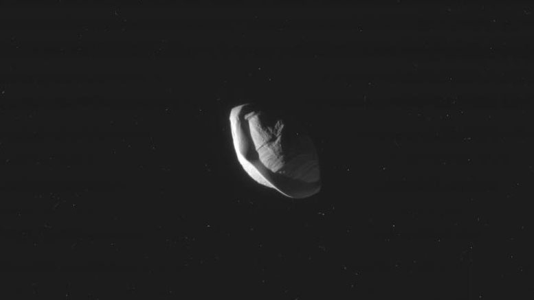 NASA's Cassini Spacecraft Reveals the Strange Shape of Saturn's Moon Pan